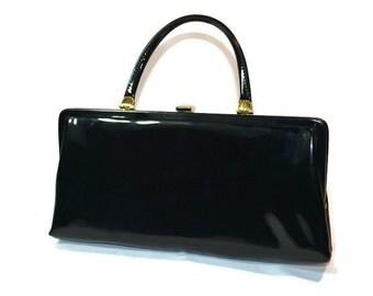 Bobbie Jerome, Black Patent Leather, Mid Century Handbag, Top Latch, Purse, Shiny Black, Pocketbook