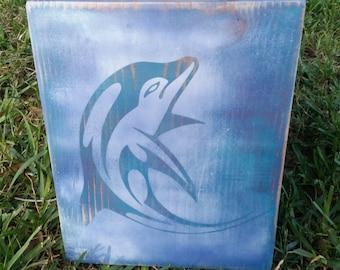 Dolphin image wood art