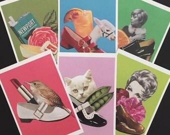 "Postcards, Collage Postcards, Set of 6 Postcards, 4""x6"""