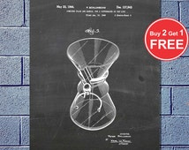 Coffee Chemex Flask 1943, Patent Poster Print, Coffee Shop, Diner Decor, Coffee Wall Art (#002)