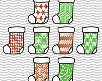 Patterned Stockings, Christmas Stockings, Pattern, Cute Christmas Stockings, .SVG/.PNG/.EPS Files for all Vinyl Cutting Machines