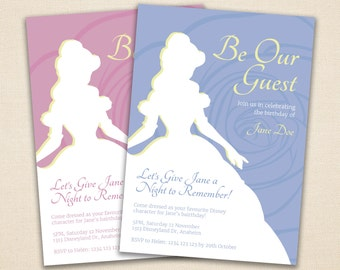 Disney Princess Birthday Party Invitation Template // Simple Red, Pink, Blue // Photoshop PSD