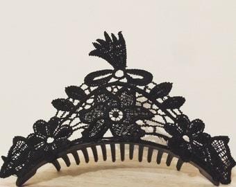 Lace Boho Crown on slide comb
