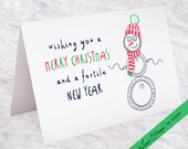 """Infertility Holiday Card: """"Wishing you a Merry Christmas and a Fertile New Year"""" Infertility Christmas Card - 5""""x7"""" Folded (Blank Inside)"""