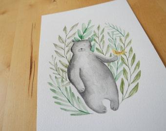 Bear and Bird Illustration Print from Original watercolor Wall Art free shipping Germany