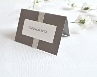 Wedding place cards, silver place cards, grey place cards, wedding place cards, gray place cards, gray placement cards