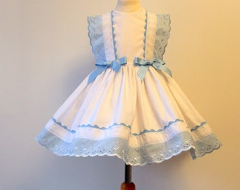White Blue Party Dress available in sizes 1 to 8 years