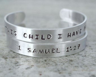 Metal Stamp Cuff Bracelet: For This Child I Have Prayed (1 Samuel)