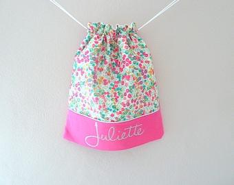 bag back to school Liberty gooseberry wiltshire and fuschia customizable name