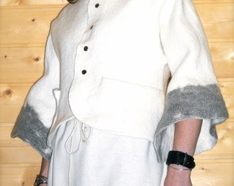 White merino a-line felted coat, felt coat