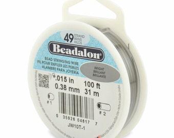 100ft - Beadalon 49 Strand .015 BRIGHT Stainless Steel Flex Beading Wire