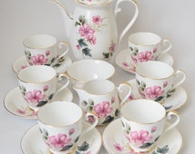 Royal Grafton Coffee Set, Lovely Pink Floral Set Complete with Coffee Pot, Creamer, Sugar Bowl and Matching Cups, c 1950 s