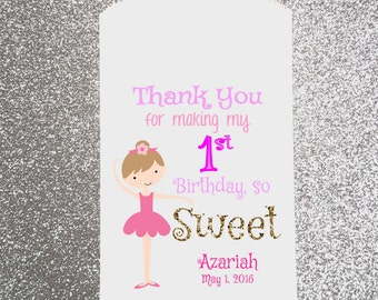 Happy Birthday, Girl, Ballerina, Birthday, Candy Bag, Candy Buffet, Candy Favor Bags, Treat Bags, Personalized bag, Gift bag, paper bag