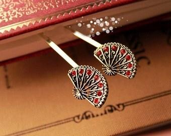 Antique Brass Fan Hair Pin Fan Bobby Pin, Pretty Woodland  Hair Accessory Hair Clip Bridal Hair Pin