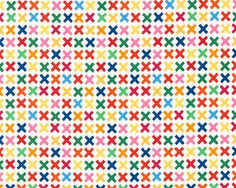 Rainbow Remix Kisses Bright - Robert Kaufman Rainbow Remix - Confetti Pop - PRE-WASHED FABRIC - X Pattern