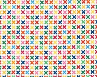 Rainbow Remix Kisses Bright - 9.95 Yard - Robert Kaufman Rainbow Remix - Confetti Pop - PRE-WASHED FABRIC - X Pattern