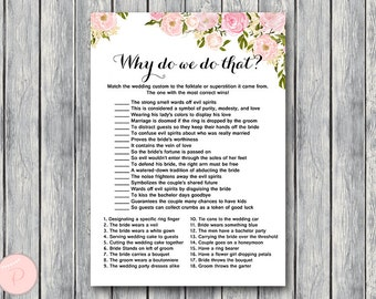 pink why do we do that bridal shower game wedding tradition quiz coed bridal