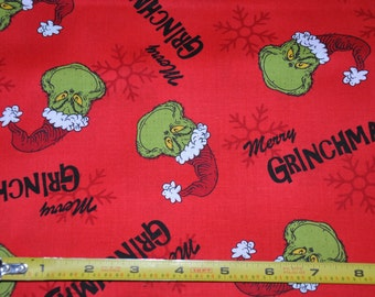 New!  1/2 yard of How the Grinch Stole Christmas - Red 100% Cotton Quilt Fabric by Robert Kaufman