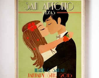 Vintage Wedding Poster Retro Wedding Poster Personalized Wedding Poster Custom Couple Gift Wedding Anniversary Gift Custom Wedding Portrait