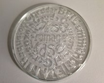 Glass Cheese Platter/Vintage 1970's