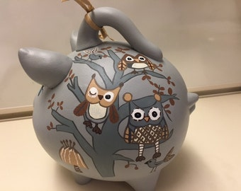 Piggy Bank: Hoot Owls in the Tree!  Hand Made, Hand Painted