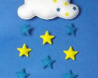 Handmade felt baby mobile, Cloud with Blue & Yellow stars, nursery, baby gift