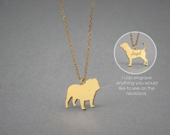 14K Solid GOLD Tiny ENGLISH BULLDOG Name Necklace - English Bulldog Necklace - Gold Dog - 14K Gold or Rose Plated on 14k Gold Necklace