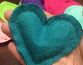 Heart Shaped Reuseable Flannel Rice Hand Warmers (in pairs)