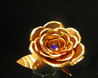 Hand Crafted Medium Crystal Copper Rose