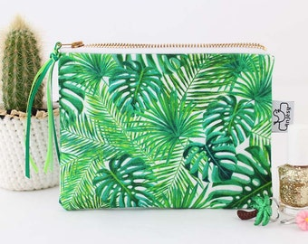 Tropical printed zipper pouch,Tropical printed purse,Original ANJESY designs,gift for her.
