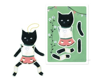 Postcard paperdoll 'Black cat'
