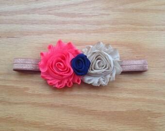 Coral and Beige Shabby Flower Elastic Headband w/ Navy Rosette