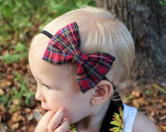 red plaid bow headband