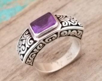 Amethyst ring February birthstone Sterling Silver ring amethyst gemstone ring size 6.75 INDO NZ1857
