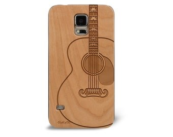 Laser Engraved Acoustic Guitar Country Rock Musical Instrument Wood phone Case for Samsung Galaxy S5 / S6 S6Edge S-054
