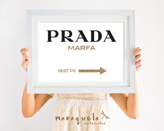 ORIGINAL Prada Marfa watercolor GOLDEN Letters Inspired Wall Art Poster, Prada Marfa Gossip Girl, Marfa NY distance Fashion,Girls Room Decor