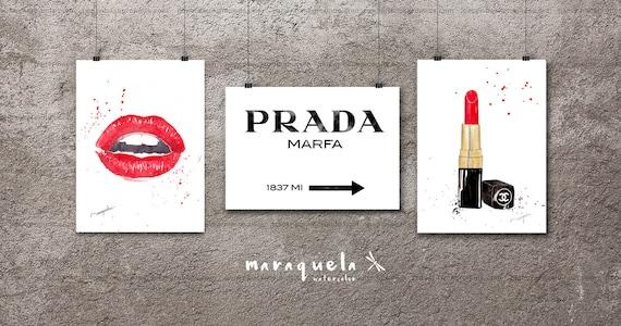 DISCOUNT Fashion PACK: Lips, Prada Marfa, lipstick. Prada Marfa Sign Like Gossip Girl, red lips, chanel lipstick, fashion print, gils room