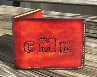Mens Monogrammed Billfold Wallet - Custom - Gift for Him - Bi fold - Birthday Gift