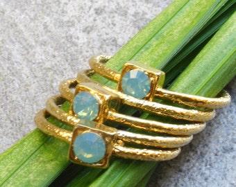 Set of 5 Stacking Ring Swarovski Crystal Statement Ring Textured Ring Ring Set Sparkling Ring Boho Ring Swarovski Rings Rings Set