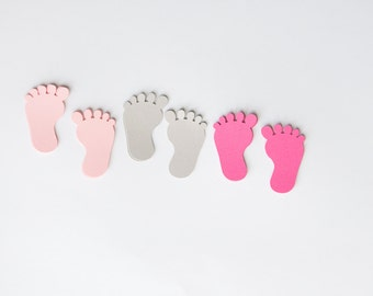 Baby shower confetti, baby party, baby feet confetti, confetti, baby feet, baby shower, pink and grey, set of 60
