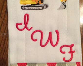 Set of 3 Emboridered Cloth Diaper Burp Cloths