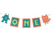 Monster High Chair Banner - First Birthday Banner - Monster Theme - First Birthday - Monster Party - Monster Birthday - Monster Pattern -