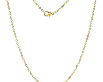 12pcs Gold Plated Necklace Chain (24 inches long) with 6mm Lobster Clasp Cord Necklaces Link Chains DIY Jewelry Wholesale Findings Supplies