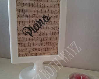 Musical themed, wedding table name stands, place names, musical notes, piano instruments,