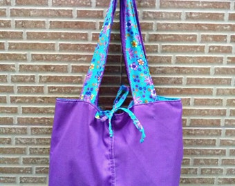 Reversible shoulder bag, purple and turquoise, Fabric totebag, Teacher gift, Drill cotton bag with print handles, two handle sac tissu