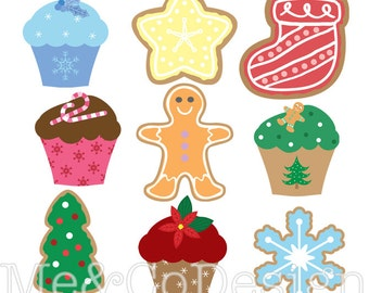 Christmas Goodies Clipart, Clip art for scrapbooking, invitations, Instant Download, Personal and Commercial Use Clipart, Digital Clip Art