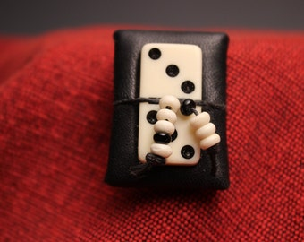 Leather Domino Brooch Jewelry