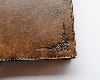 Leather Notebook Cover A5 Indian style Books movies music books accessories book covers Leather Notebook Cover A5 Indian style brown cover