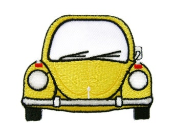 Yellow Car Embroidered Applique Iron on Patch
