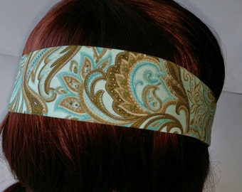 Blue and Brown Paisley Fabric Headband